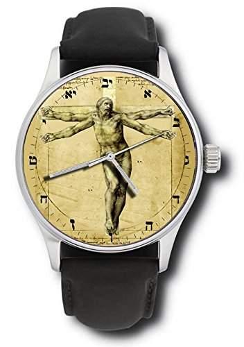Leonardo da Vinci und Michelangelo inspiriert Kreuzigung Christi Vitruvian Kunst Armbanduhr