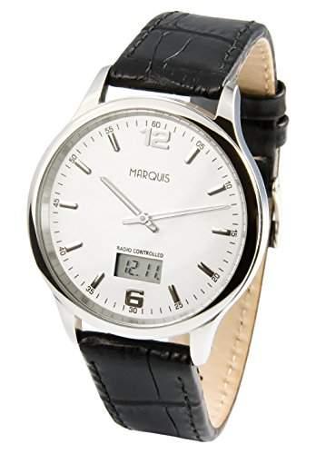 Elegante Herren Funkarmbanduhr mit Junghans-Uhrwerk, Edelstahlgehaeuse, Lederarmband 964471978