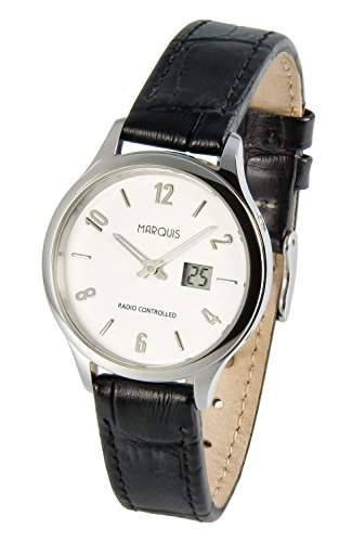 Elegante Damen Funkarmbanduhr mit Junghans-Uhrwerk, Edelstahlgehaeuse, Lederarmband 9644787SE