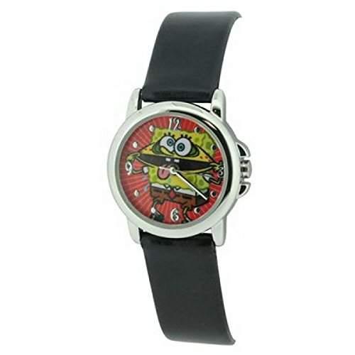 Spongebob - Schwammkopf Kinderuhr mit schwarzem Armband, Quarzuhrwerk und Edelstahlgehaeuse - SP 14 - WB10861