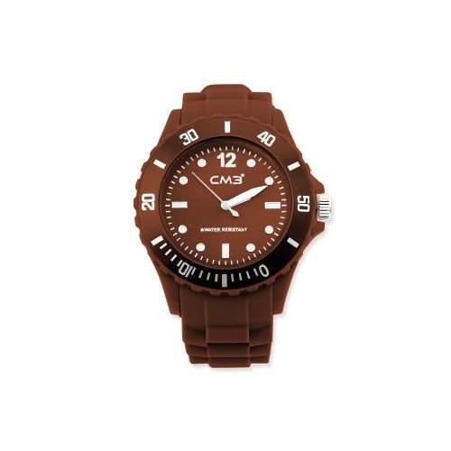 CM3 Silikon Herren Armbanduhr 43mm braun , inkl 2ter Ersatzbatterie