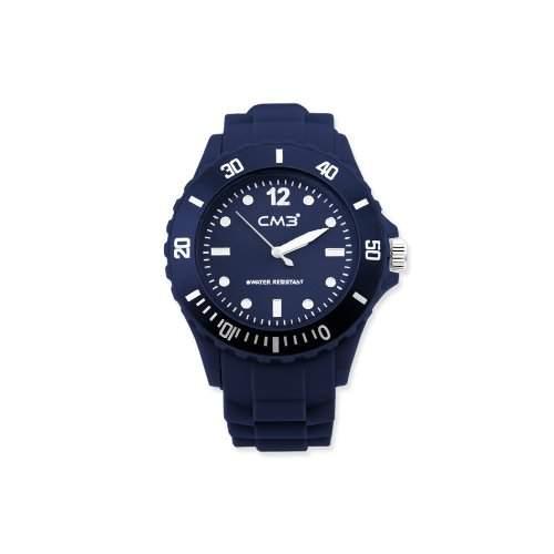 CM3 Silikon Herren Armbanduhr 43mm dunkelblau , inkl 2ter Ersatzbatterie
