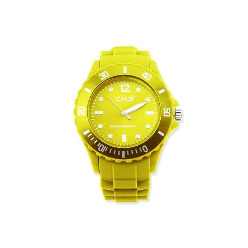CM3 Silikon Damen Armbanduhr 38mm gelb , inkl 2ter Ersatzbatterie