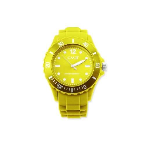 CM3 Silikon Herren Armbanduhr 43mm gelb , inkl 2ter Ersatzbatterie