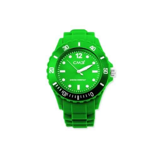 CM3 Silikon Herren Armbanduhr 43mm gruen , inkl 2ter Ersatzbatterie