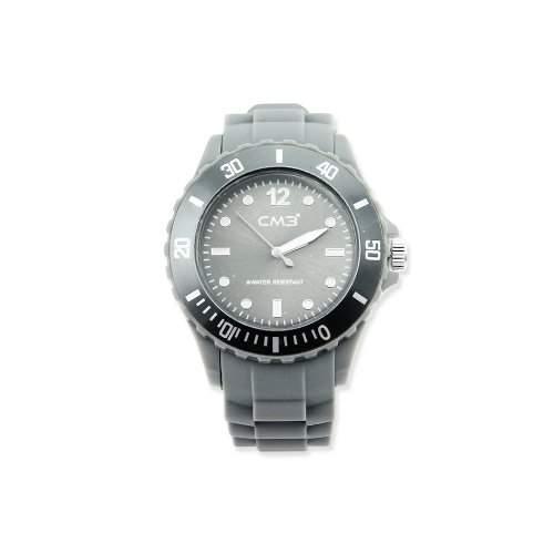 CM3 Silikon Damen Armbanduhr 38mm grau , inkl 2ter Ersatzbatterie