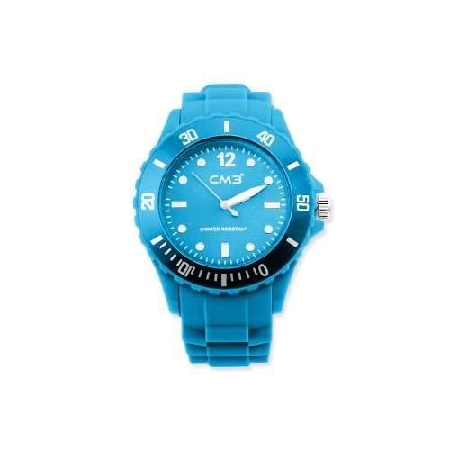 CM3 Silikon Herren Armbanduhr 43mm hellblau , inkl 2ter Ersatzbatterie