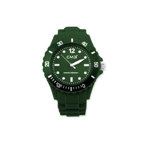 CM3 Silikon Herren Armbanduhr 43mm olive , inkl 2ter Ersatzbatterie