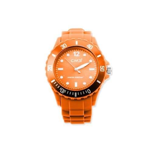 CM3 Silikon Herren Armbanduhr 43mm orange , inkl 2ter Ersatzbatterie