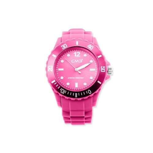 CM3 Silikon Damen Armbanduhr 38mm pink , inkl 2ter Ersatzbatterie