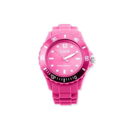 CM3 Silikon Herren Armbanduhr 43mm pink , inkl 2ter Ersatzbatterie