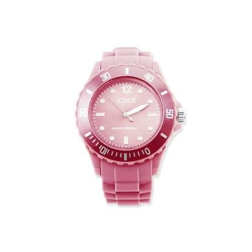 CM3 Silikon Herren Armbanduhr 43mm rosa , inkl 2ter Ersatzbatterie