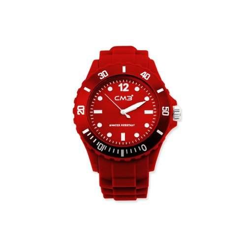CM3 Silikon Herren Armbanduhr 43mm rot , inkl 2ter Ersatzbatterie