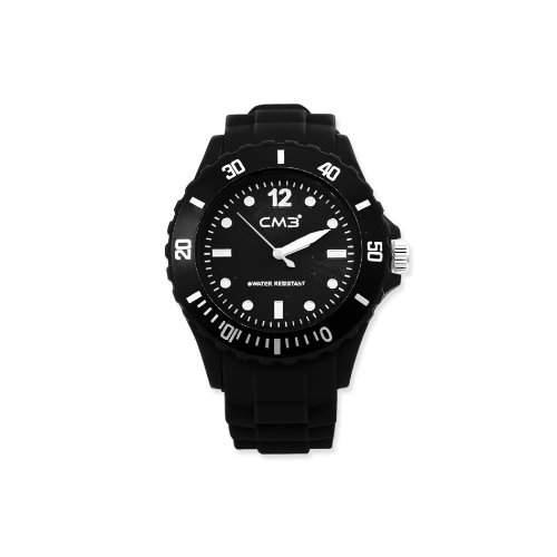 CM3 Silikon Herren Armbanduhr 43mm schwarz , inkl 2ter Ersatzbatterie