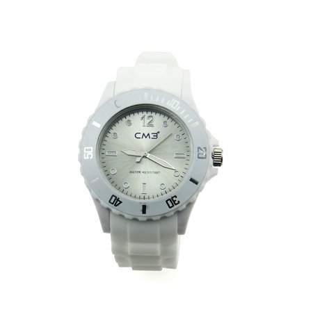 CM3 Silikon Damen Armbanduhr 38mm weiss , inkl 2ter Ersatzbatterie