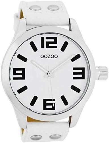 Oozoo - XXL Damenuhr mit Lederband - C4055 - Weiss