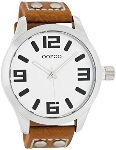 Oozoo - XXL Damenuhr mit Lederband - C4406 - WeissCognac