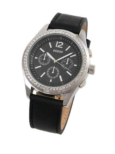 Oozoo Timepieces - Strass Damenuhr mit Lederband - JR184 - Schwarz