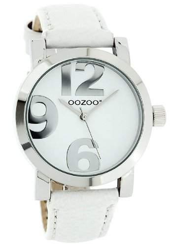 Oozoo XL Damenuhr mit Lederband - JR190 - WeissWeiss