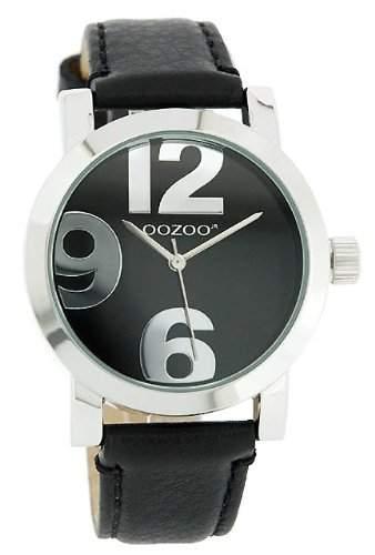 Oozoo XL Damenuhr mit Lederband - JR194 - SchwarzSchwarz
