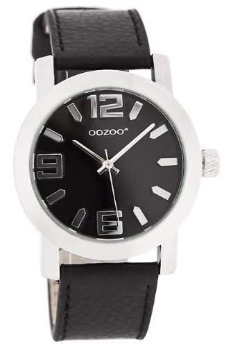 Oozoo XL Damenuhr mit Lederband - JR204 - Schwarz