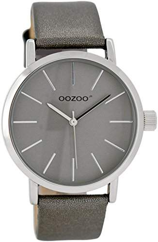 Oozoo Damen- Kinderuhr JR279 silbergrau 40 mm - Lederband