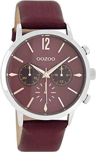 Oozoo mit Lederband 40 MM Bordeauxrot Bordeauxrot C8245