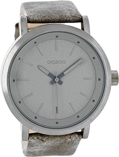 Oozoo mit Lederband 48 MM Grau Grau C8253