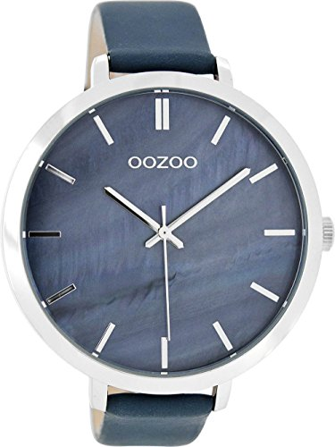 Oozoo mit Lederband 48 MM Perlmutt Blaugrau C8353