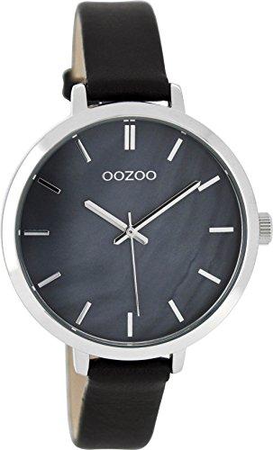 Oozoo mit Lederband 38 MM Perlmutt Schwarz C8359