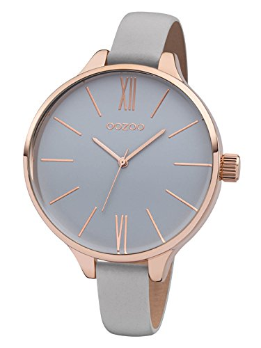 Oozoo Damenuhr mit Lederband 45 MM Rose Grau Grau C8400