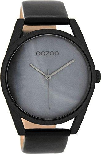 Oozoo mit Lederband Schwarz Grau C8399