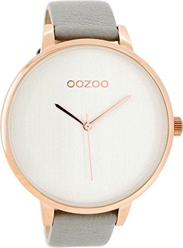Oozoo mit Lederband 48 MM Rose Silber Grau C8060
