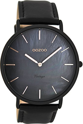 Oozoo Vintage Herrenuhr Lederband 44 MM Anthrazit Perlmutt Schwarz C8134
