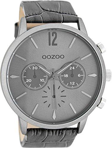 Oozoo mit Lederband 48 MM Silbergrau Grau C8243