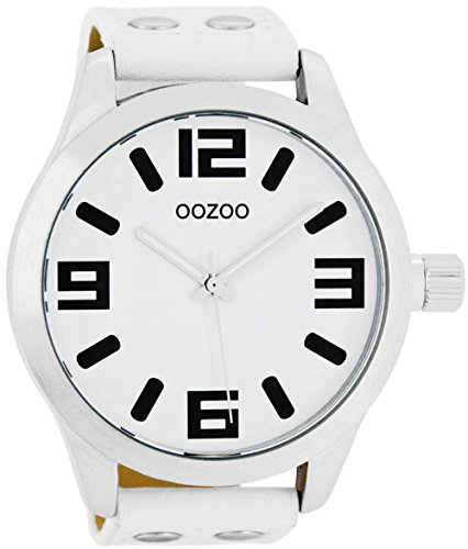 Oozoo mit Lederband 51 MM Weiss Weiss C1000