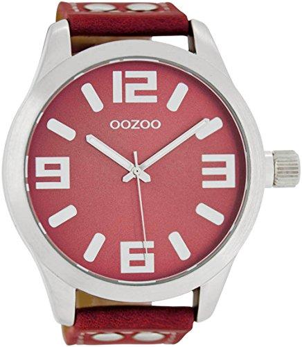 Oozoo mit Lederband 51 MM Rot Rot C1009
