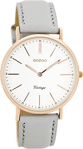 Oozoo Vintage Lederband 36 MM Rose Weiss Grau C8141