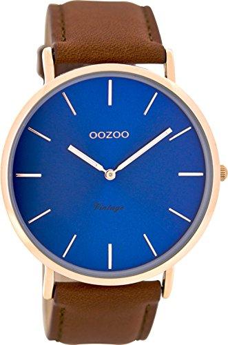 Oozoo Vintage Herrenuhr Lederband 44 MM Rose Blau Rotbraun C8138