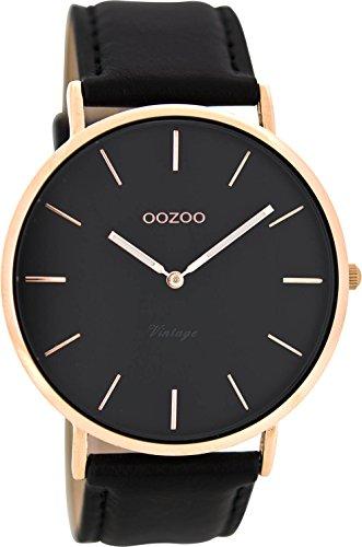 Oozoo Vintage Lederband 44 MM Rose Schwarz Schwarz C8139