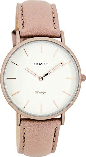Oozoo Vintage Ultra Slim Leder 36 MM Rose Weiss Pinkgrau C7747