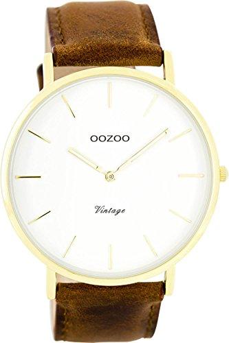 Oozoo Vintage Ultra Slim Leder 44 MM Gold Weiss Rotbraun C7754
