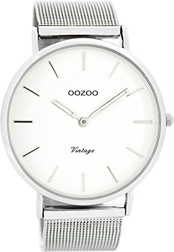 Oozoo Vintage Ultra Slim Metallband 44 MM Silber Weiss C7720