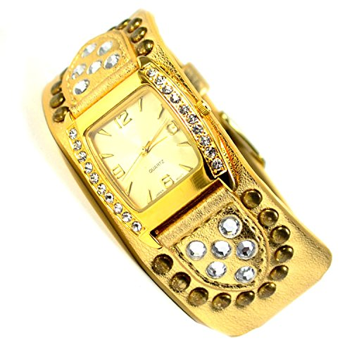 Damenuhr Armbanduhr in Gold Look Strasssteine sehr Edel Elegante Damen uhr 86