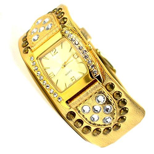 Armbanduhr in Gold Look Strasssteine sehr Edel Elegante 86