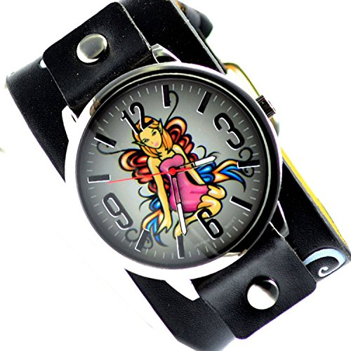 Gothic Schwarz Punk Rock Schmetterling Butterfly Watch Uhr