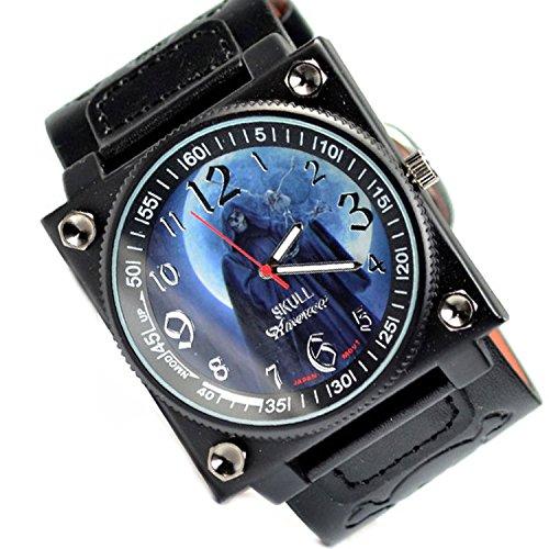 Gothic Schwarz Rock Skull XXL Design Watch Uhr