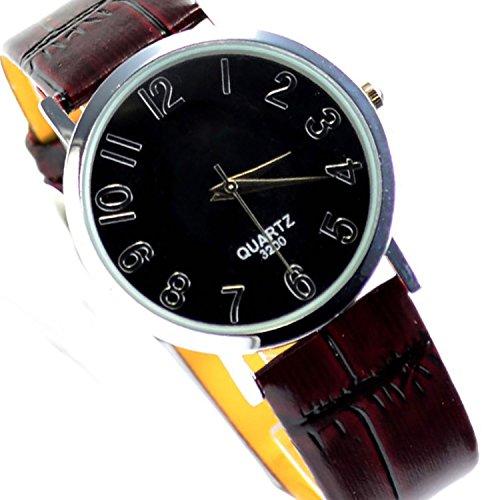 Armbanduhr in Schwarz Braun Slim Uhr Klassisch und Edel 93