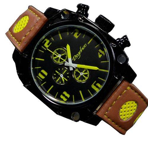Braun Gelb Retro Fahsion Uhr Militaer Unisex Chronograph Look Uhr jb 515