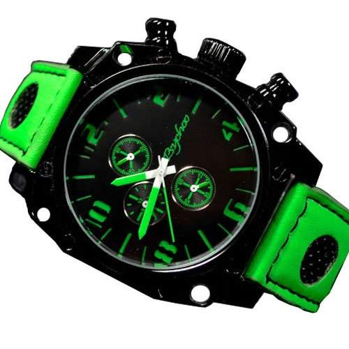 Herrenuhr Schwarz Gruen Retro Fahsion Uhr Militaer Unisex Chronograph Look Uhr